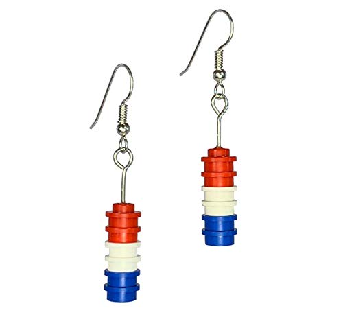 (Red, White, and Blue Brick Drop Earrings - Solid)