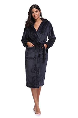 Luvrobes Women's Plush Fleece Hooded Robe Ultra-Soft Long Bathrobe (M/L,Navy)