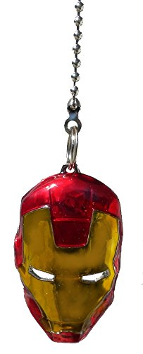 DC & Marvel comics SUPER HERO superhero character PEWTER Ceiling FAN PULL light chain (Iron Man Mask - red & gold)