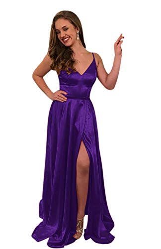 ElenaDressy Women's Simple Spaghetti Straps A Line Long Prom Dresses with Slit,Purple 14 ()