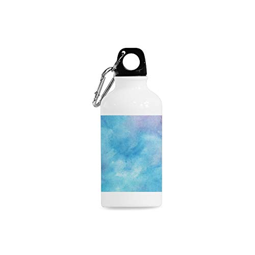 (WHIOFE Outdoor Simple Fashion Travel Watercolor Hazy Featured Color Fades Bohemian Turquoise Sepiolite Art Print Design Sport Water Bottle Aluminum Stainless Steel Bottle Aluminum Sport Water Bottle)