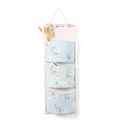 Transer Wall Mounted 3 Bags Storage Bag Over the Door Storage Pockets Wall Door Closet Hanging Storage Bag Organizer (B - Light blue)