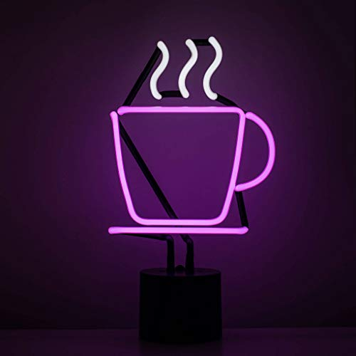 Amped & Co - Coffee Cup Neon Sign, Desk Light Real Neon, Purple/White, 14x8""
