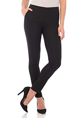 Rekucci Women's Ease in to Comfort Modern Stretch Skinny Pant w/Tummy Control (16,Black Diamond)