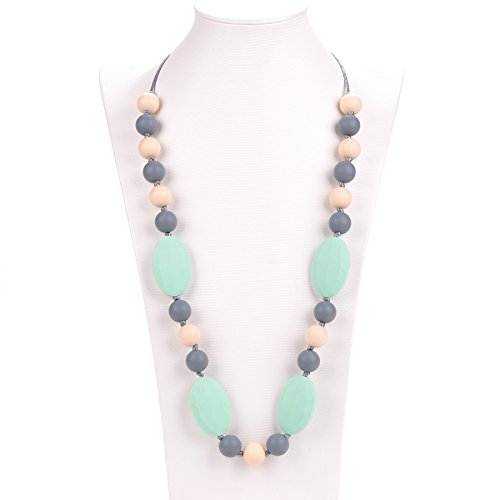 "Silicone Teething Necklace – 12 Color Choices – Baby Safe For Mom To Wear – BPA-Free Beads To Chew – Stylish & Natural ""Cora"" (Beach Multi-color)"