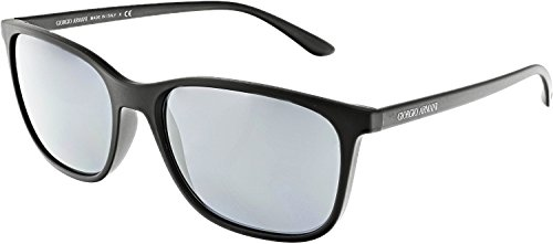 Giorgio Armani Men's Mirrored AR8084-50426G-57 Black Rectangle - Giorgio Armani Sunglasses