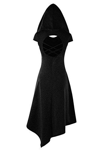 EastLife Womens Hooded Robe Lace up Vintage Pullover High Low Long Hoodie Dress (Large, Black 2) by EastLife (Image #1)