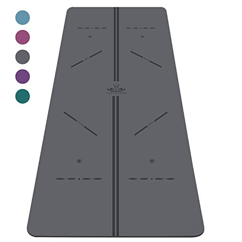 Heathyoga ProGrip Non Slip Yoga Mat with Alignment Lines