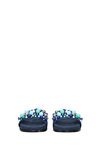 Woman Navy Eu zoccoli Aquazzura bnbflas0spu Pantofole e Tessuto Bon Blue fSIAgq