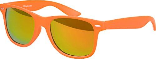 haute qualité Nerd Lunettes De Soleil mat Gomme Rétro Vintage Unisexe Lunettes avec Charnière à ressort - 101 plusieurs couleurs/Modèles au choix Orange - Rot/Orange verspiegeltverspiegelt