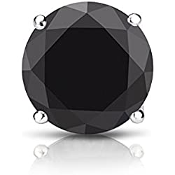 14k Gold 4-Prong Basket Round Black Diamond SINGLE STUD Earring (1/4 - 2 ct, Black) Screw-Back