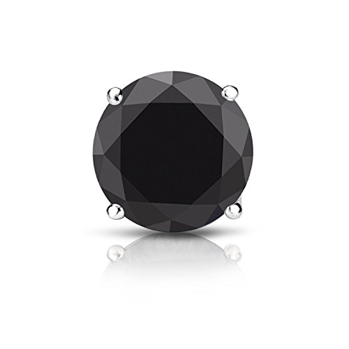 14k White Gold 4-Prong Basket Round Black Diamond SINGLE STUD Earring (2 ct, Black) Screw-Back by Diamond Wish