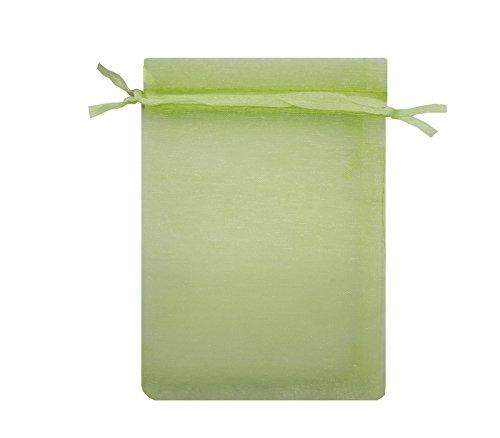 Ankirol 100pcs Sheer Organza Bags 4x6'' Wedding Baby Shower Favors Gift Card Bags Samples Orders Display Drawstring Pouches (green) -