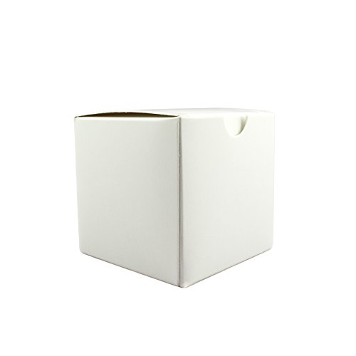 Adorox 50 Pack 4 X 4 X 4 inches Kraft Boxes Cardboard Gift Box with Lids for Wedding Birthday Holiday Baby Shower Favor (White, 4 X 4 X 4)