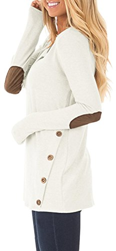 DEARCASE Women's Round Neck Tunic Soft Tops with Faux Suede and Button Blouses Tops White Small by DEARCASE (Image #2)