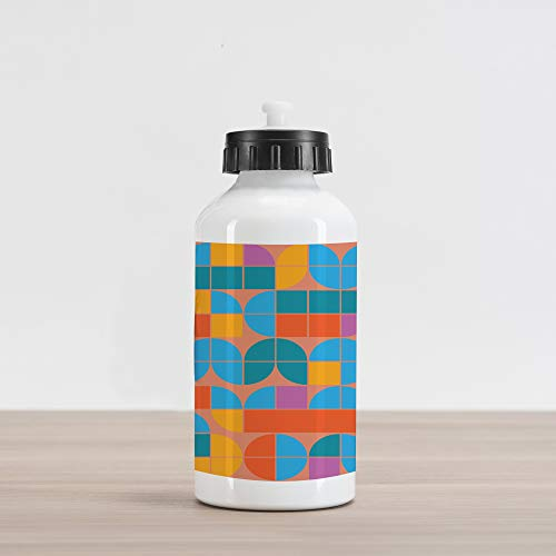 Lunarable Geometric Aluminum Water Bottle, Retro Style Mosaic Geometric Shapes of Quadrants and Squares in, Aluminum Insulated Spill-Proof Travel Sports Water Bottle, Multicolor
