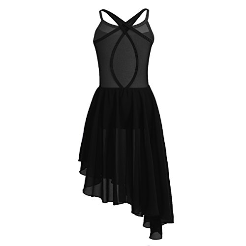 FEESHOW Kids Big Girls Lyrical Dance Dress Cutout Back Leotard Irregular Skirt Ballroom Dancing Costumes Black 13-14