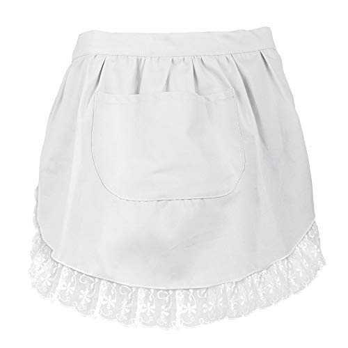 Aspire Lace Adult Half Apron, Cotton Cooking Apron Perfect for Coffee House with Pocket-White-M ()
