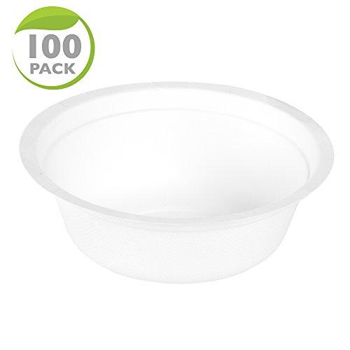100 Disposable Biodegradable Soup Bowls - 12oz White Compostable & Microwavable Tree Free Sugarcane Bowls, Bulk Set by Ilyapa