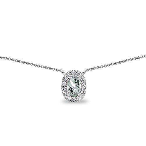 (Sterling Silver Aquamarine Oval Halo Choker Necklace with CZ Accents)