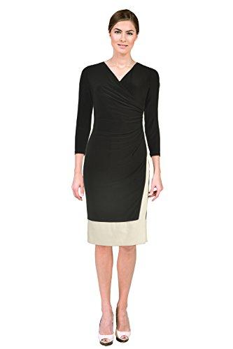 Teri Jon Contrast 3/4 Sleeve Faux Wrap Jersey Cocktail Dress