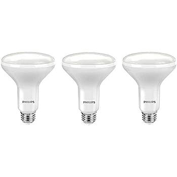 Philips LED 464198 65 Watt Equivalent Soft White Dimmable BR30 LED Light Bulb, 3 Pack Piece