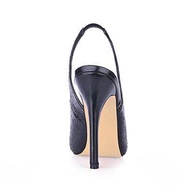 LvYuan zapatos del club de sandalias de verano banquete de boda sintética&vestido de noche negro de plata Silver