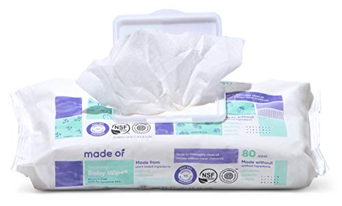 Organic Baby Wipes by MADE OF - Soothing Soft for Sensitive Skin and Eczema - NSF Organic and EWG Verified - Made in USA - Fragrance Free/Unscented