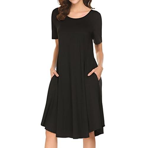 Locryz Womens Short Sleeve Pocket Casual Loose Swing Midi T Shirt Dress