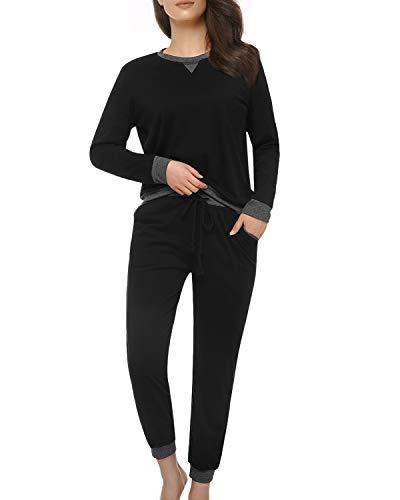 (Suzicca Women's Sleepwear Tops with Capri Pants Pajama Sets Black)