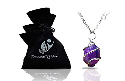 Natural Amethyst Crystal Healing Necklace - For Crown Chakra. Enhances Spiritual Awareness, Improves Selflessness. Calms Mind, Enhances Motivation, Focuses Thoughts. With Stylish Stainless Steel Chain