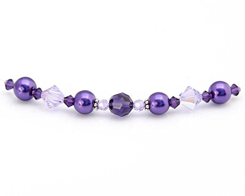 Purple Floating Necklace with Swarovski Crystals