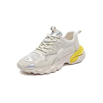 HK Sneakers for Women, Breathable Mesh Casual White Shoes Women's Shoes Wild Running Shoes Summer Sports Shoes (Color : Yellow, Size : 35EU)
