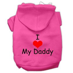 Mirage Pet Products I Love My Daddy Screen Print Pet Hoodies, Bright Pink, X-Small
