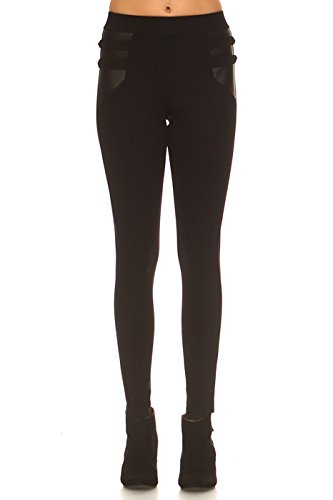 ICONOFLASH Women's Ponte Knit Stretch Skinny Dress Pants With Faux Leather Accent Detail