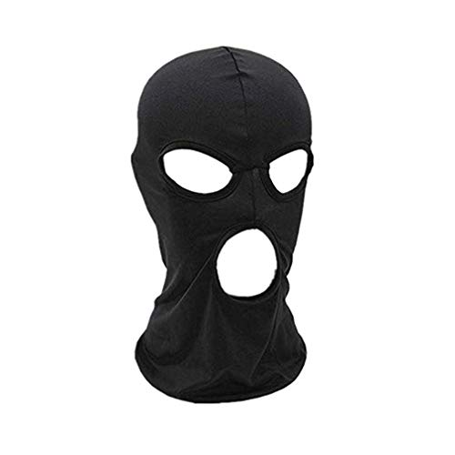 (Firecolor Windproof Masks Full Face Holes Neck Hats Riding Hiking Outdoor Accessories Cosplay Costume Hood,Black,Size Three Holes)