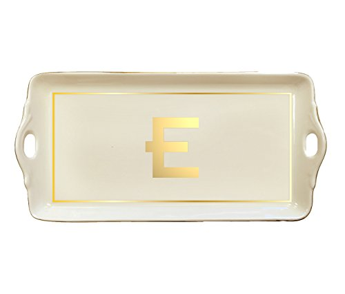 Pickard China Initial Tray - Custom Letter - Gold (E) by McLaughlin Glazeware