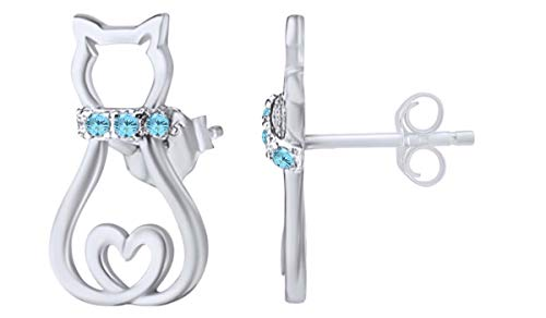 Christmas Sale 14k White Gold Over Sterling Silver Simulated Aquamarine Pet Animal Cat Stud Earrings For Women