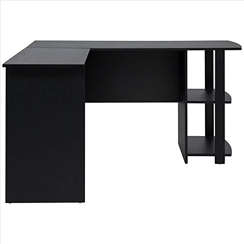 Qinhum FCH L-Shaped Wood Right-Angle Computer Desk with Two-Layer Bookshelves (Ship from US) (Color : Black)
