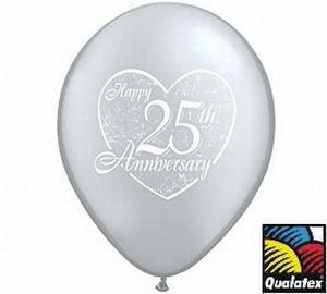 Qualatex Happy 25th Anniversary Latex Balloons, 11-Inch 25 Per -