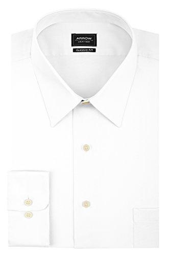Arrow Men's Sateen Regular-Fit Solid Point-Collar Dress Shirt, White, 2X-Large/18