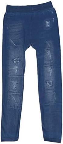 女性ファッション絵画デニムリッピングフェイクジャンパンツレギンススキニージェギングストレッチレギンス鉛筆ズボン固体肌タイト