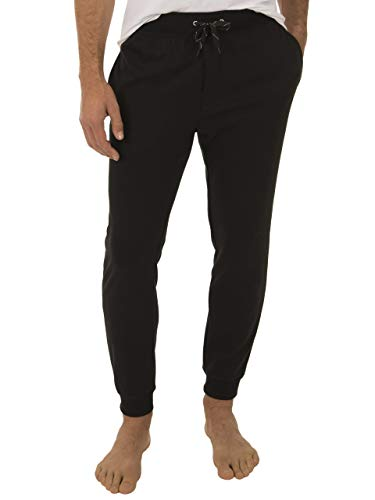 - Fruit of the Loom Signature Men's Poly-Rayon Double Knit Jogger Sleep Pant, Black, Large