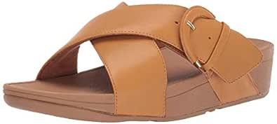 FitFlop Womens X64 Lulu Buckle Slide Sandal Yellow Size: 5