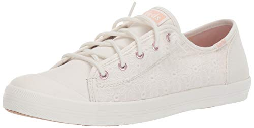 Keds Girls' Kickstart Seasonal Toe Cap Sneaker White Eyelet 040 Medium US Big Kid