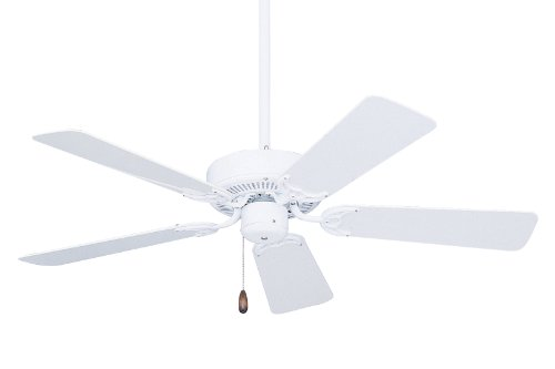 Emerson Ceiling Fans CF742PFWW Summer Night Indoor Outdoor Ceiling Fan, Damp Rated, 42-Inch Blades, Light Kit Adaptable, Appliance White (Summer White Fan)