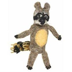 Fair Trade Finger Puppet Racoon - Christmas Tree Ornament Dzi Wild Woolie