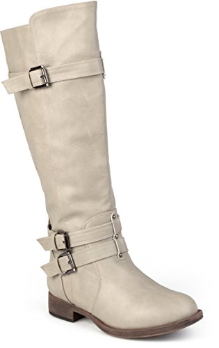 - Journee Collection Womens Regular Sized and Wide-Calf Knee-High Buckle Riding Boots Taupe, 9 Wide Calf US