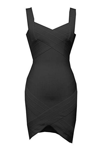 Ajustado Mangas 55004negro Rayã³n para Escote Vestido Dress Mini Mujer Bandage Bandage Vendaje FARINA Vestidos V sin Vestido Bodycon 1A6qOxpwF