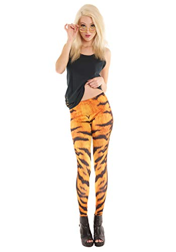 Women's Striped Tiger Print Costume Leggings, Orange & Black - Size -